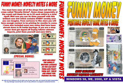 Pay for Funny money novelty bank notes and uk driving licence