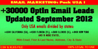 Thumbnail USA Emails opt in leads - Updated September 2012