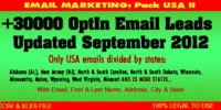 Thumbnail USA Emails opt in leads II - Updated September 2012