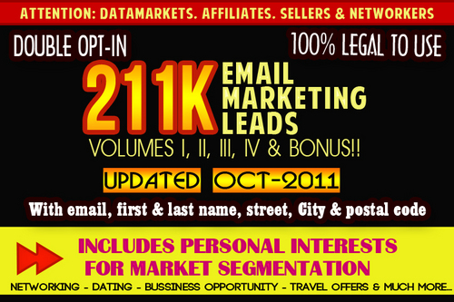 Pay for 211k Double Opt In Emails Leads - OCT 2011