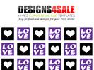 Thumbnail Love Squares Purple Pattern For Sale