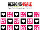 Thumbnail Love Squares Pink Pattern For Sale