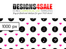 Thumbnail Musical Notes Black With Pink Hearts Pattern For Sale