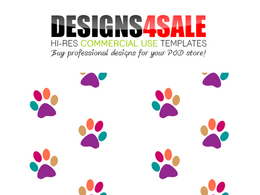 Pay for Colorful Paws (Prints) Path Pattern Templates