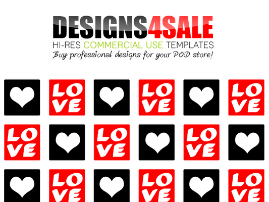 Pay for Love Squares Red Pattern For Sale