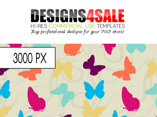 Pay for Butterflies and Swirls Vibrant Pattern For Sale