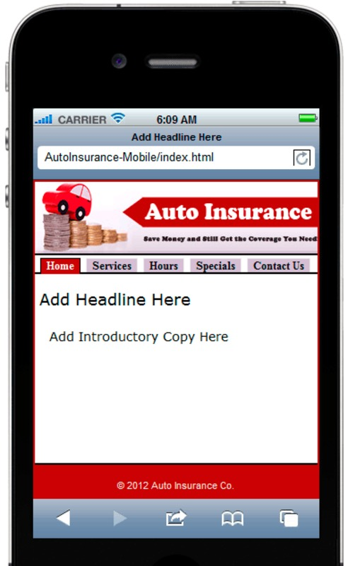 Auto Insurance Mobile Site Template - Download Javascript