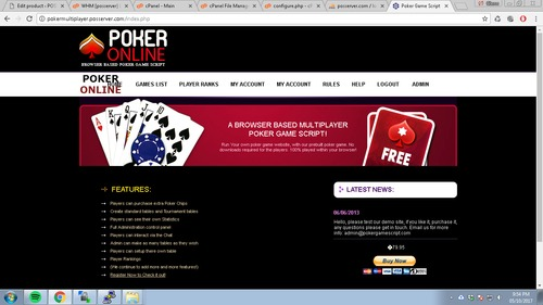 Pay for Multiplayer Poker Game Script + PayPal Payment Gateway
