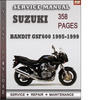 Thumbnail Suzuki Bandit GSF600 1995-1999 Factory Service Repair Manual Download