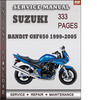 Thumbnail Suzuki Bandit GSF650 1999-2005 Factory Service Repair Manual Download