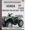 Thumbnail Honda Rancher TRX 420 2007 - 2010 Factory Service Repair Manual Download