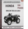 Thumbnail Honda Rincon TRX 650 2003 Factory Service Repair Manual Download