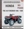 Thumbnail Honda TRX 350 Foreman 1986 - 1989 Factory Service Repair Manual Download