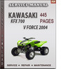 Thumbnail Kawasaki KFX 700 V Force 2004 Factory Service Repair Manual Download