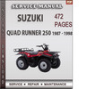 Thumbnail Suzuki Quad Runner 250 1987 - 1998 Factory Service Repair Manual Download