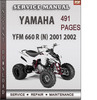 Thumbnail Yamaha YFM 660 R 2001 2002 Factory Service Repair Manual Download