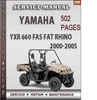 Thumbnail Yamaha YXR 660 FAS FAT RHINO 2000-2005 Factory Service Repair Manual Download