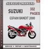 Thumbnail Suzuki GSF600 Bandit 2000 Factory Service Repair Manual Download