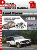 Thumbnail Land Rover Defender 90 1985 Factory Service Repair Manual