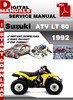 Thumbnail Suzuki ATV LT 80 1992 Factory Service Repair Manual Pdf