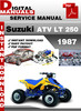 Thumbnail Suzuki ATV LT 250 1987 Factory Service Repair Manual Pdf