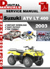 Thumbnail Suzuki ATV LT 400 2003 Factory Service Repair Manual Pdf