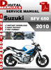 Thumbnail Suzuki SFV 650 2010 Factory Service Repair Manual Pdf