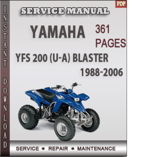 yamaha yfs 200 u a blaster 1988 2006 factory service. Black Bedroom Furniture Sets. Home Design Ideas