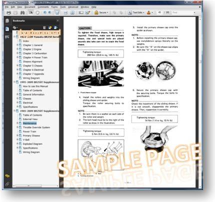 yamaha br250 1991 repair service manual