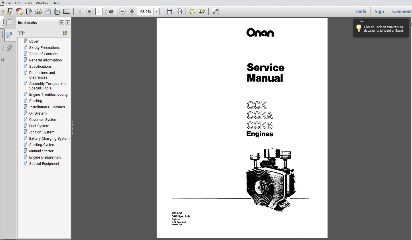 Onan generator Cck service manual