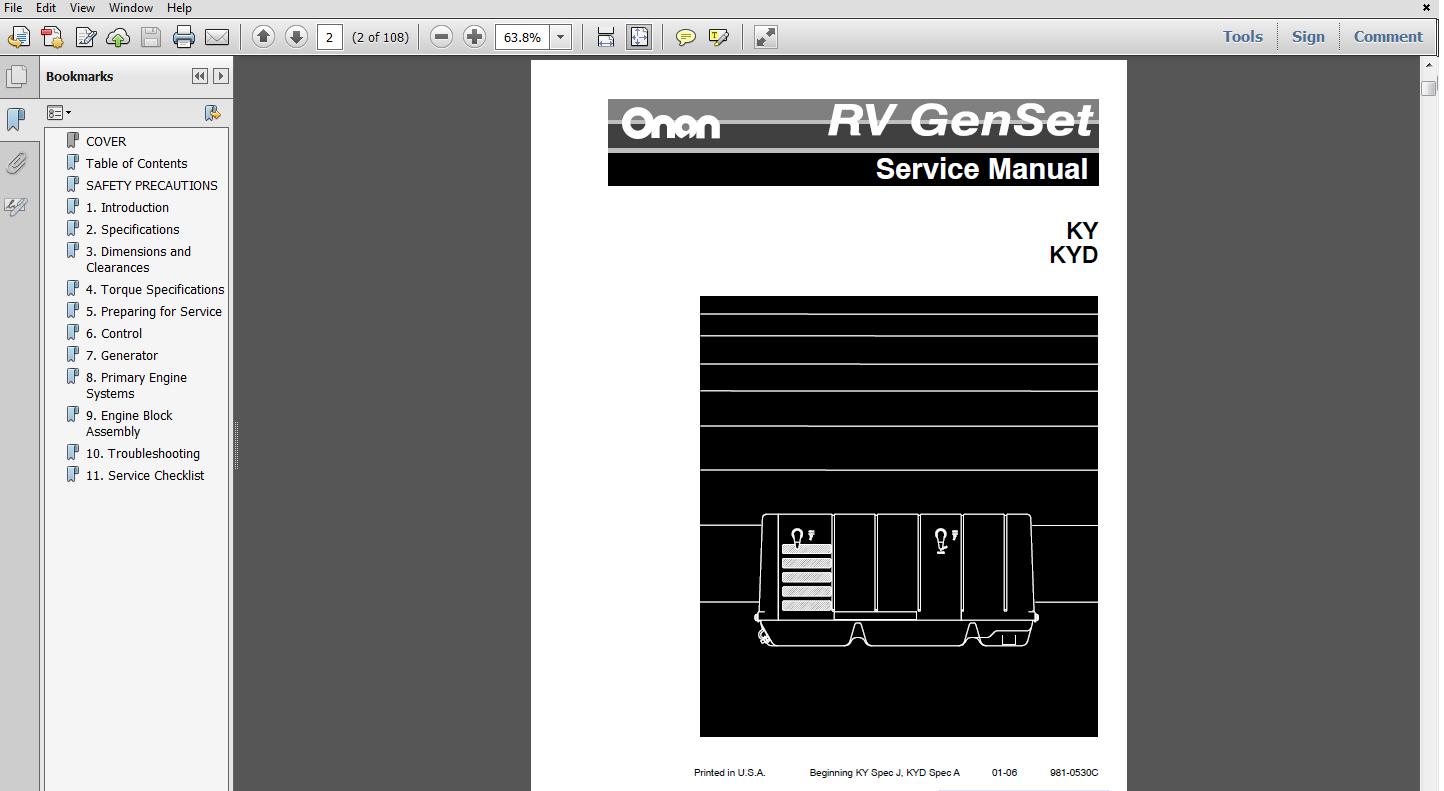 Service Manual For Onan Generator 4000 Spec