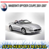 Thumbnail MASERATI SPYDER COUPE 2001-2007 WORKSHOP SERVICE MANUAL