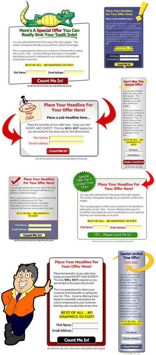 Pay for Graphical Opt-In Template Package Volume 2 With MRR !!