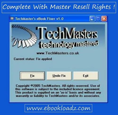 Pay for TechMasters eBook Fixer Software With Master Resell Rights !
