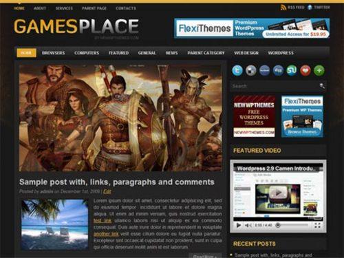 Video Game Wordpress Themes GamesPlace - Download Templates / Flash