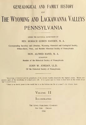 Pay for Genealogy Wyoming and Lackawanna Valleys, Pa(Vol 2)