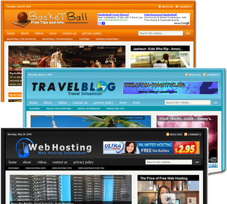 Pay for 3 Niche Blogs (Basketball, Travel & Web Hosting)