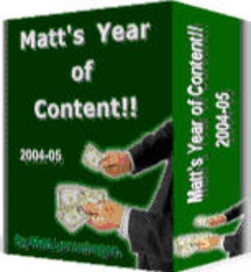 Pay for Matt´s Year of Content - with FULL PLR + Mystery BONUS!
