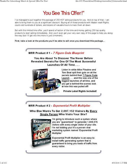 Pay for 250 Hot Selling Master Resell Rights Products