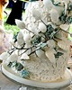 Thumbnail Unique green and white lace wedding cake