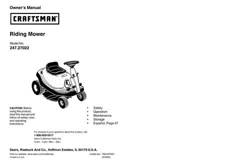 craftsman riding mower model no 247 27022