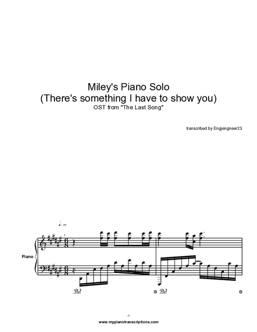 Pay for Miley Cyrus Piano Solo Complete