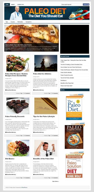Pay for Paleo Diet PLR Niche Blog Make Money Online Fast Using PLR