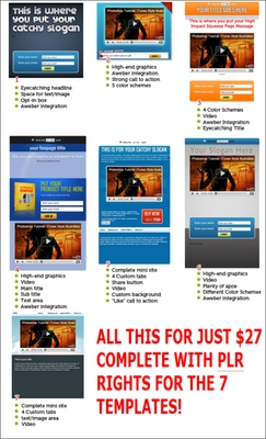 Pay for 7 Squeeze Style Facebook Fan Page Templates with PLR Rights