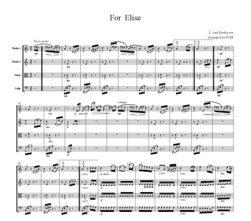Pay for Beethoven For Elise, for string quartet, CB010