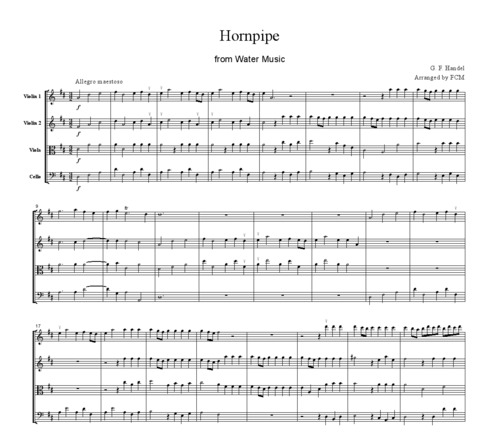 Pay for Handel Hornpipe from Water Music, for string quartet, CH101