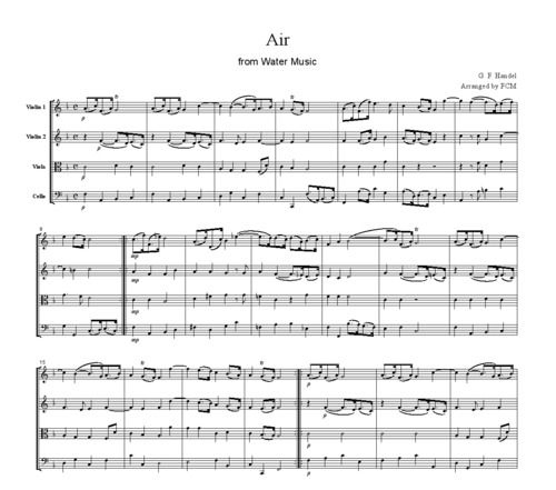 Pay for Handel Aria from Water Music, for string quartet, CH105