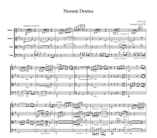 Nessun Dorma Lyrics Sheet Music