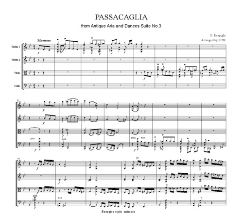 Pay for Respighi Passacaglia from Ancient Airs and Dances Suite No.3, CR004