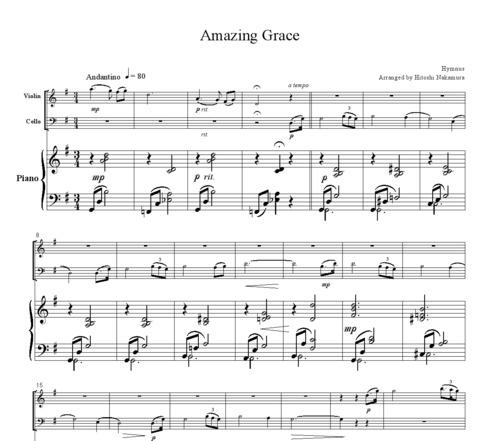 Amazing Grace Lyrics And Sheet Music: Hymnus Amazing Grace, For Piano Trio, PH001